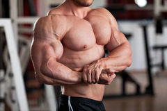 Bodybuilder side chest Stock Images