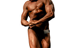 Bodybuilder side chest pose Royalty Free Stock Image