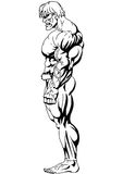 Bodybuilder side-view. Bodybuilder with powerful muscles side-view Royalty Free Stock Photo