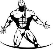 Silhouette of a professional bodybuilder Stock Image