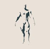 Bodybuilder silhouette. Muscular man posing. Sketch style illustration Stock Photo
