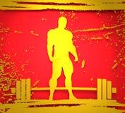 Bodybuilder silhouette posing. Bodybuilding and barbell silhouettes. Bodybuilder posing on grunge brush stroke. Metallic Material. 3D rendering Stock Image