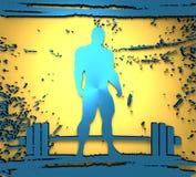 Bodybuilder silhouette posing. Bodybuilding and barbell silhouettes. Bodybuilder posing on grunge brush stroke. Metallic Material. 3D rendering Royalty Free Stock Photo