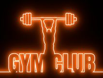 Bodybuilder silhouette posing. Bodybuilder with kettlebell outline silhouette. Gym word. Invitation card or brochure template. 3D rendering. Neon bulb Royalty Free Stock Photo