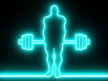 Bodybuilder silhouette posing. Bodybuilder with kettlebell outline silhouette. Invitation card or brochure template. 3D rendering. Neon bulb illumination Stock Photography