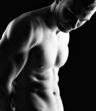 Bodybuilder. Silhouette of young athlete bodybuilder man on black Royalty Free Stock Image