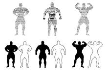 Bodybuilder silhouettes Royalty Free Stock Images