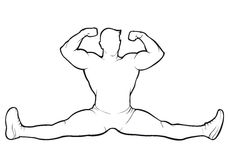 Bodybuilder sitting in the splits. Vector contour on white background Stock Images