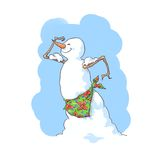 Bodybuilder snowman Royalty Free Stock Photo