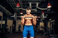 Bodybuilder sportsman working out with a barbell in gym, doing biceps training. Young handsome caucasian bodybuilder sportsman working out with a barbell in gym Royalty Free Stock Photos