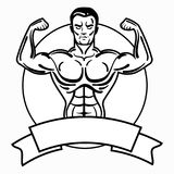 Bodybuilder with a sporty physique. A man with muscular muscles. Black and white athlete logo. Sports emblem. Master of Stock Photos