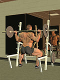 Bodybuilder squatting with bar Royalty Free Stock Image