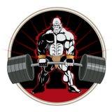 Bodybuilder Sterke aap Mascotte staaf barbell Vector beeld Stock Fotografie