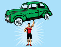 Bodybuilder strong. Strong guy picking up a car.  With vector,  car, guy and shoes are separate.  Shadow on hand can be removed.  Hand is fully drawn, so dude Royalty Free Stock Photography