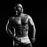 Bodybuilder in the studio Royalty Free Stock Images