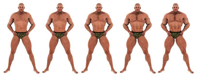 Bodybuilder success transformation. 5 steps with becoming a muscular man, perfect bodybuilder. a successfull body transformation Royalty Free Stock Photos