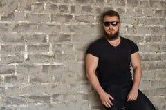 Bodybuilder in sunglasses portrait royalty free stock photo