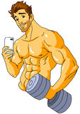 Bodybuilder taking a  selfie in the gym. Illustration,color,drawing,isolated on a white Stock Photography