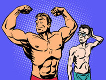 Bodybuilder and thin man sport fitness. Bodybuilder and thin man is the sport of fitness. Retro style pop art humor Royalty Free Stock Image