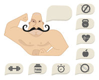 Bodybuilder torso with speech bubbles. Dumbbell protein timer, steroids, food, heart rate, kettlebell, stop steroids. Mustached Stock Images