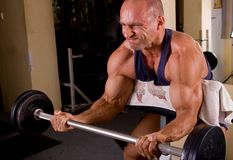 Bodybuilder training. His bicep in the gym Royalty Free Stock Photo