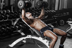 Bodybuilder training chest with dumbbell in the gym Stock Images