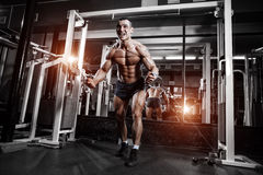 Bodybuilder training chest on simulator in the gym Royalty Free Stock Image