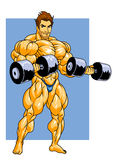 Bodybuilder training with dumbbells Stock Images