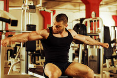 Bodybuilder training gym Stock Images
