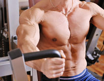 Bodybuilder training at gym Stock Photography