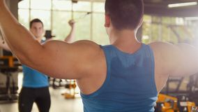 Bodybuilder training in the gym - young muscular man perform training for biceps near mirror. Slider Stock Photography