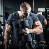 Bodybuilder in training. Muscular young man lifting weights in gym on dark background closeup of a bodybuilder working out muscular bodybuilder guy doing stock photography