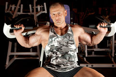 Bodybuilder in training room Stock Photos
