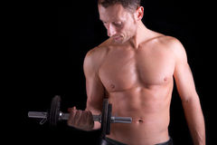 Bodybuilder. Is training with weights Stock Images