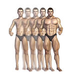 Bodybuilder Transformacja Obrazy Royalty Free