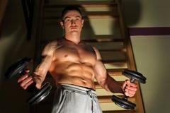 Bodybuilder trenuje mocno fotografia royalty free