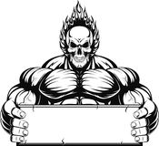 Bodybuilder. Vector illustration, outline a bodybuilder, a fiery skull on a white background Stock Photos