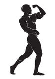Bodybuilder. Vector silhouette against white background Royalty Free Stock Photography