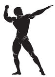 Bodybuilder. Vector silhouette against white background Royalty Free Stock Photos