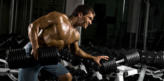 Bodybuilder. Very power athletic guy ,  execute  traction with  dumbbells, exercise on broadest muscle of back, in sport hall Stock Photo