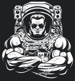 Bodybuilder w astronauta kostiumu Obraz Royalty Free