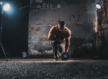 Bodybuilder with weight royalty free stock image