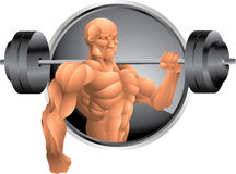 Bodybuilder with weights background Royalty Free Stock Photos
