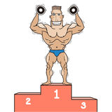 Bodybuilder on winner podium.Vector isolated on wh Royalty Free Stock Photography