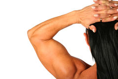 Bodybuilder woman from back Stock Images