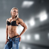 Bodybuilder woman in bikini Royalty Free Stock Photography