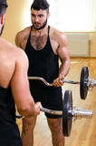 Bodybuilder working out biceps with barbell in front of mirror. Bodybuilder working out biceps with barbell in front of mirror Stock Images