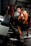Bodybuilder working out in gym Stock Photos