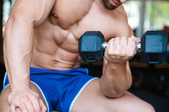 Bodybuilder workout with dumbbell Royalty Free Stock Photography