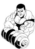 Bodybuilder workout with dumbbells Royalty Free Stock Photos